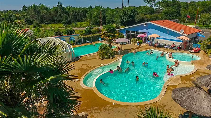 campsite with water park in the Landes